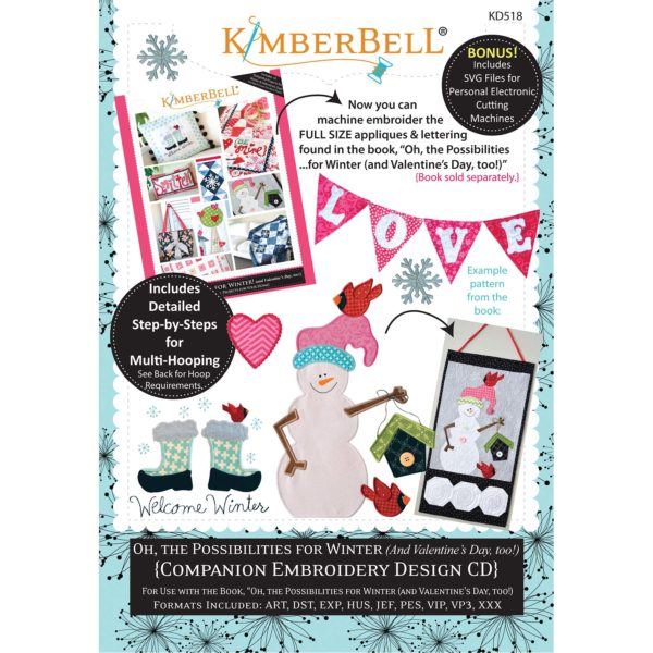 KD518 Machine Embroidery CD: Oh, the Possibilities for Winter (and Valentine's Day, to...
