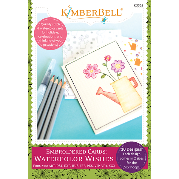 Embroidered Cards: Watercolor Wishes Embroidery CD - Kimberbell Designs