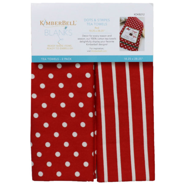 Kimberbell Dots and Stripes Tea Towels -- (Red) KDKB212