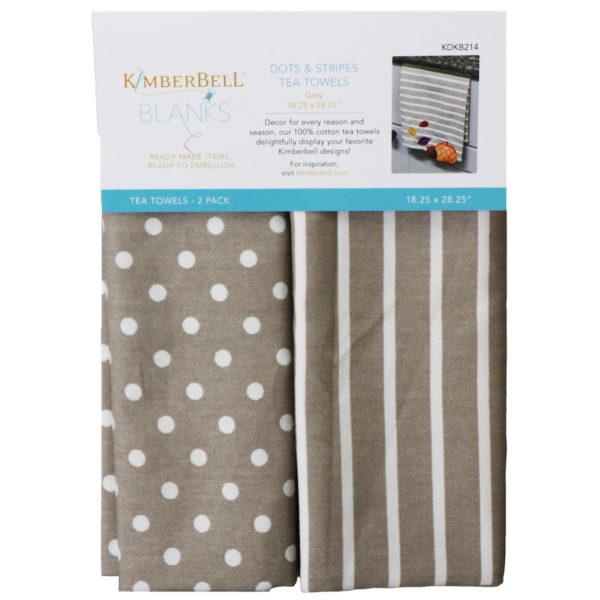 Kimberbell Dots and Stripes Tea Towels (Grey)