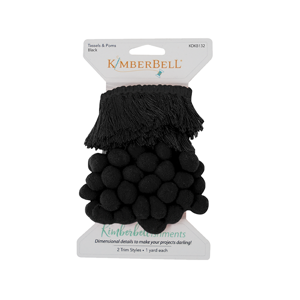 KIMBERBELL TRIM TASSELS & POMS BLACK