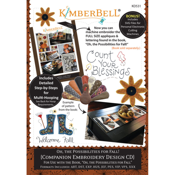 Oh The Possibilities for Fall - Machine Embroidery Companion CD