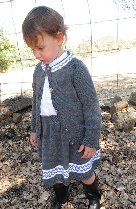 KPS 1607 Skirt and Cardigan Set