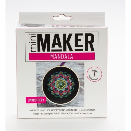 Mini Maker Mandala Embroidery Stitch Kit - 10 Pieces - Includes Hoop, Pre-Stampe...