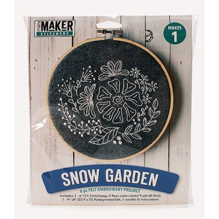 Mini Maker Snow Garden Embroidery Stitch Kit - 9 Pieces - Includes Hoop, Pre-Sta...