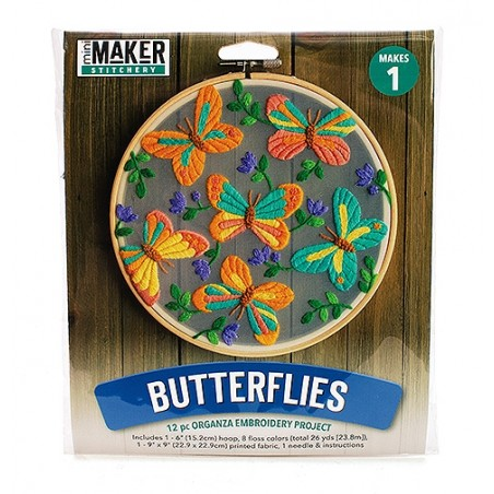 Mini Maker Floating Butterflies Embroidery Stitch Kit - Includes Hoop, Pre-Stamp...