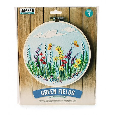 Mini Maker Green Fields Embroidery Stitch Kit - 18 Pieces - Includes Hoop, Pre-S...