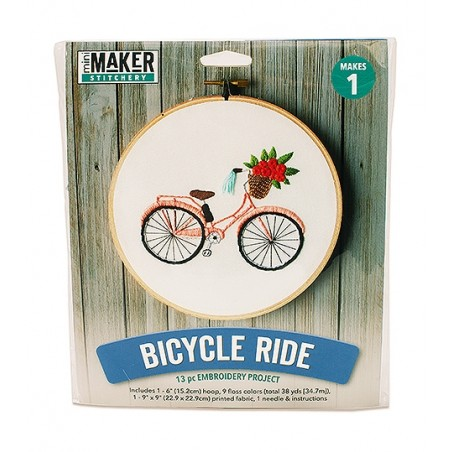 Mini Maker Bicycle Embroidery Stitch Kit - 9 Pieces - Includes Hoop, Pre-Stamped...
