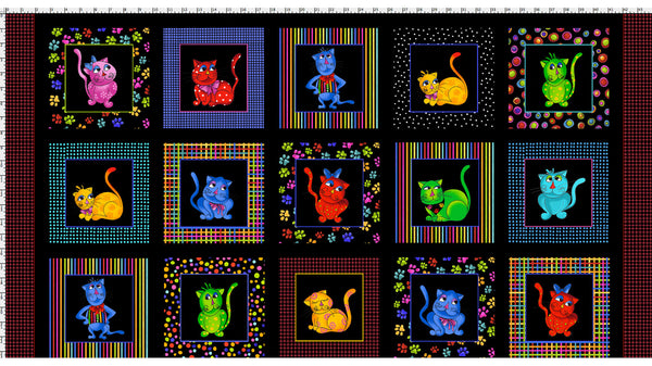 Loralie Designs Cool Cats Fabric Panel  24 in
