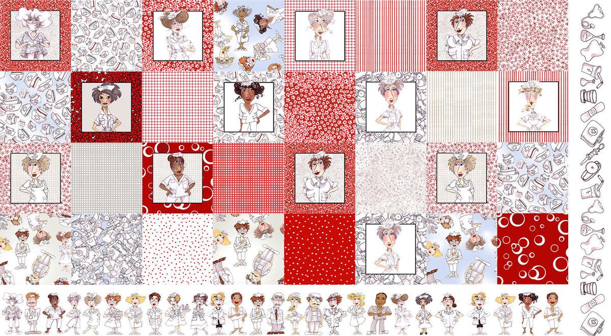 Medley Nifty Nurses Fabric Panel