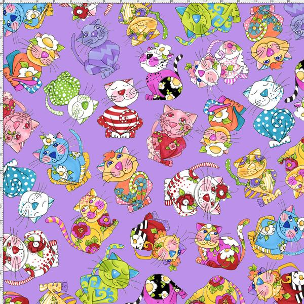 Calico Toss Purple Fabric