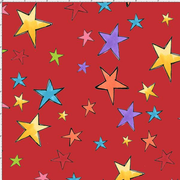 Loralie Designs Fabric: Stars Red