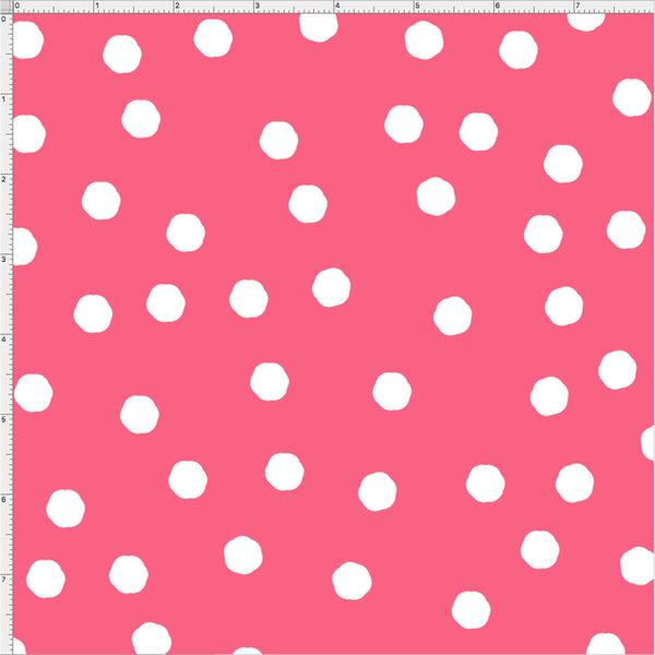 Jumbo Dots Rose / White Fabric