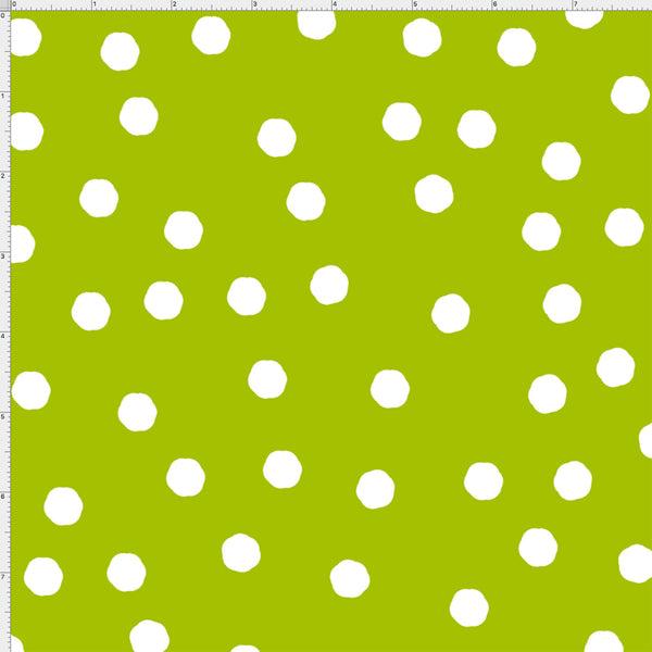 Jumbo Dots Green / White Fabric