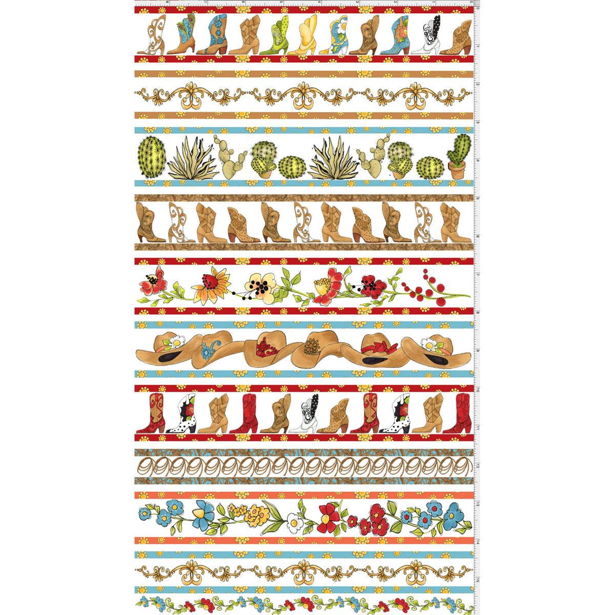 Whoa Borders Fabric Panel White