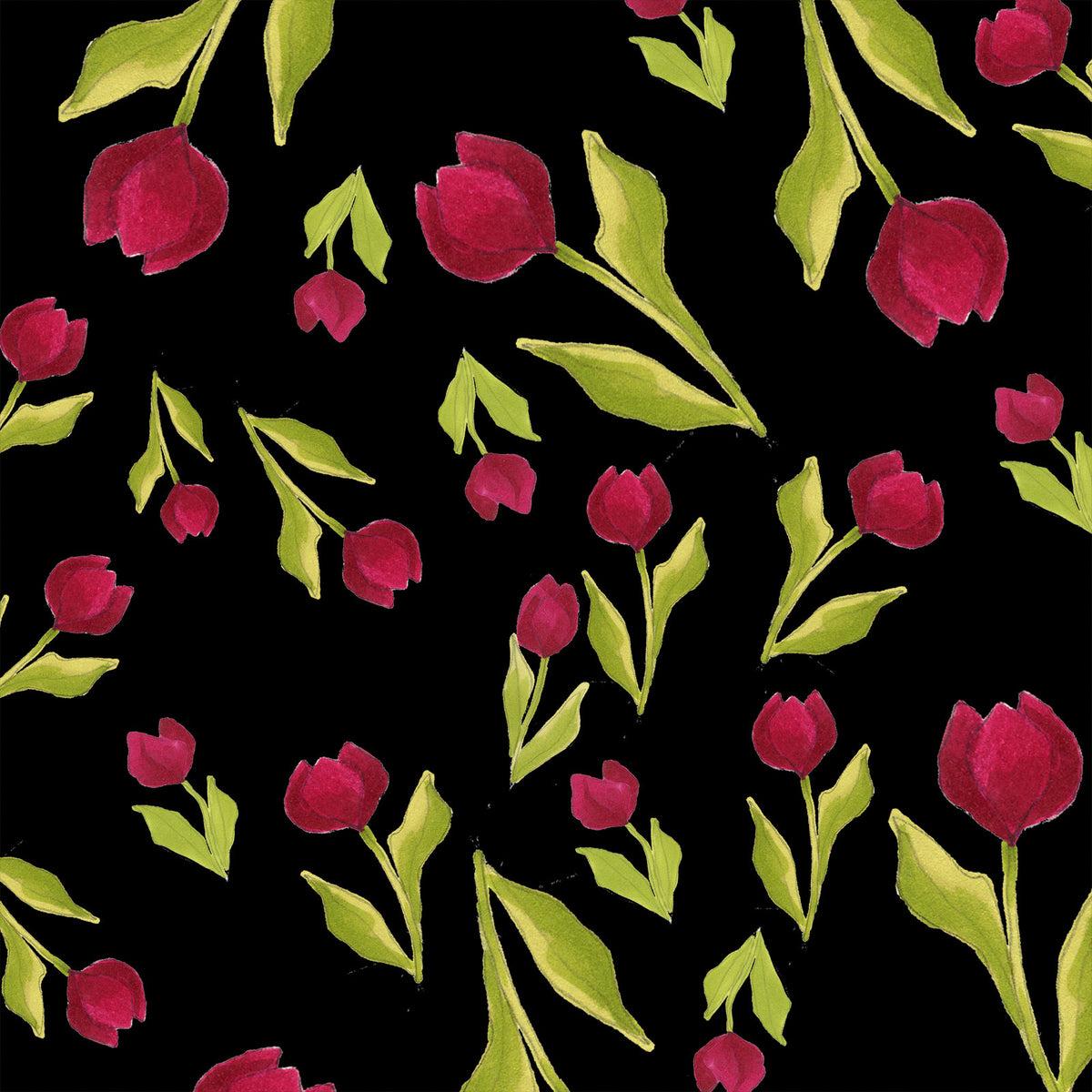 Loralie Tulip Toss Black Fabric