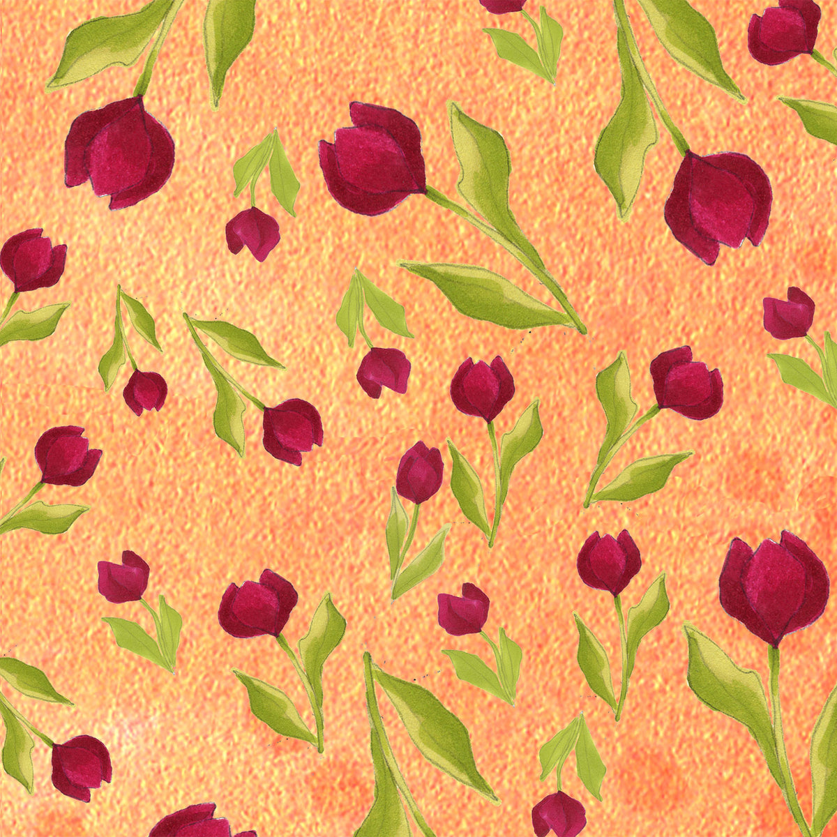 Loralie Tulip Toss Orange Fabric Yard