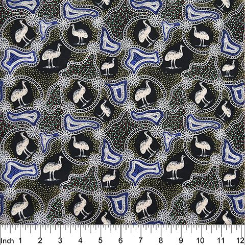 M & S Textiles Emu Dreaming Black by Barbara Egan