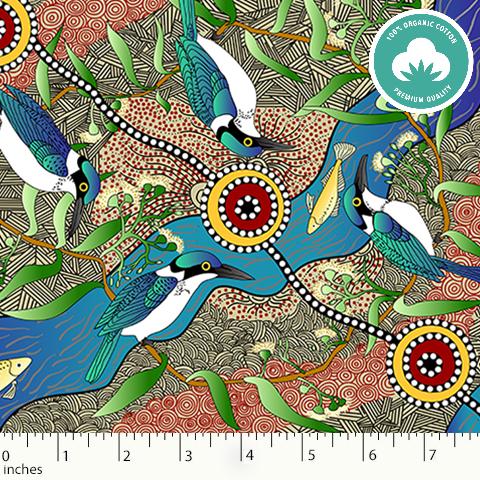 Australian Aboriginal - Kingfisher Camp by River Ecru