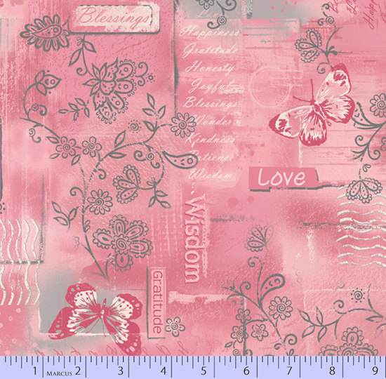 Soulful Shades pink w/writing & gray lacy flower