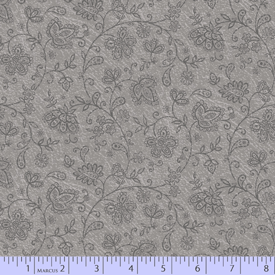 Soulful Shades grey on grey paisley flowers