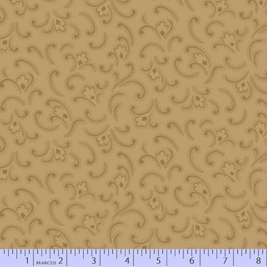 Cheddar & Chocolate -Tan  Feather Flower (1/3 yard)