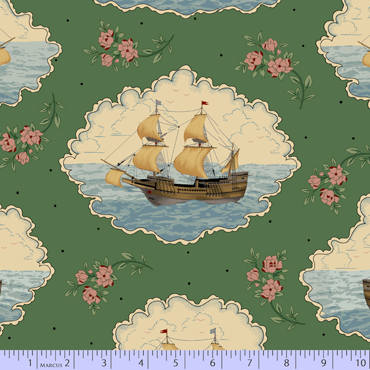 Journey to America Ship Vignettes on Green