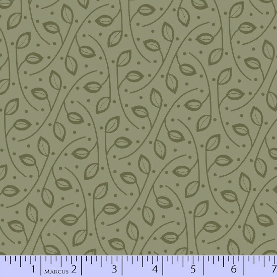 Green Leaf Vines on Light Olive Green:  San Mateo by Nancy Rink Designs for Marcus Fabrics