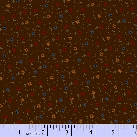 PRIMITIVE THREADS BROWN WITH SMALL FLOWERS R17-8283-0113