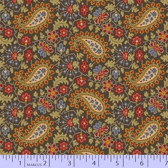 Fabric - BH Brown  Paisley Reproduction fabric