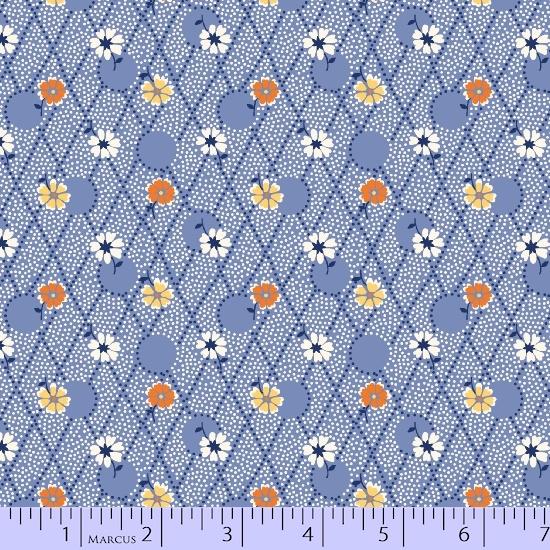 Aunt Grace's Flower Pots R35 8445-0520 Blue Criss Cross Flowers