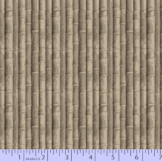 Taupe and Brown Bamboo: Bamboo - Indigo Influence by Laura Berringer for Marcus Fabrics