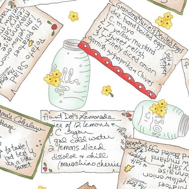 Back Porch Celebrationwhite with tossed recipe cards