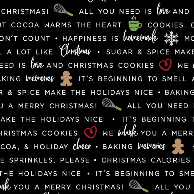 We Whisk You a Merry Christmas!- Holiday Baking Phrases Black