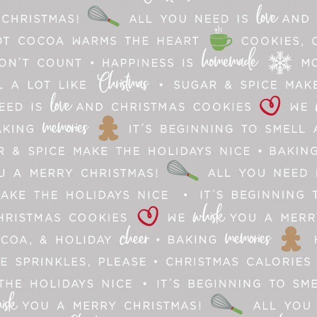 We Whisk You a Merry Christmas!- Holiday Baking Phrases Gray