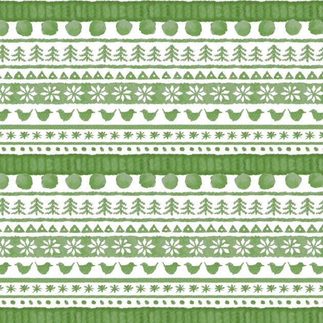 Warm Wishes - Sweater Stripe, Green - by Hannah Dale for Maywood Studios