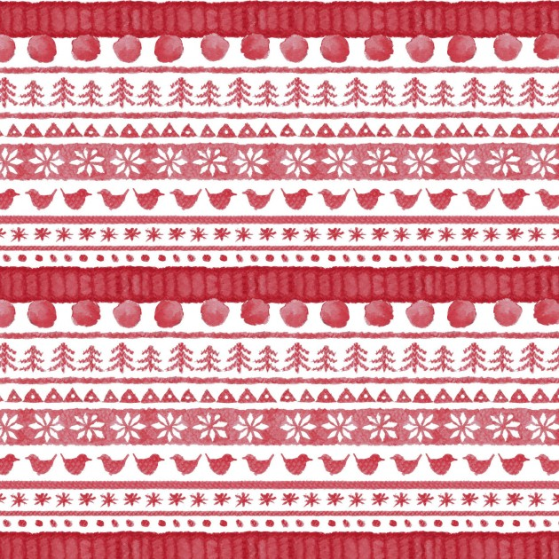 Warm Wishes - Sweater Stripe, Red - by Hannah Dale for Maywood Studios
