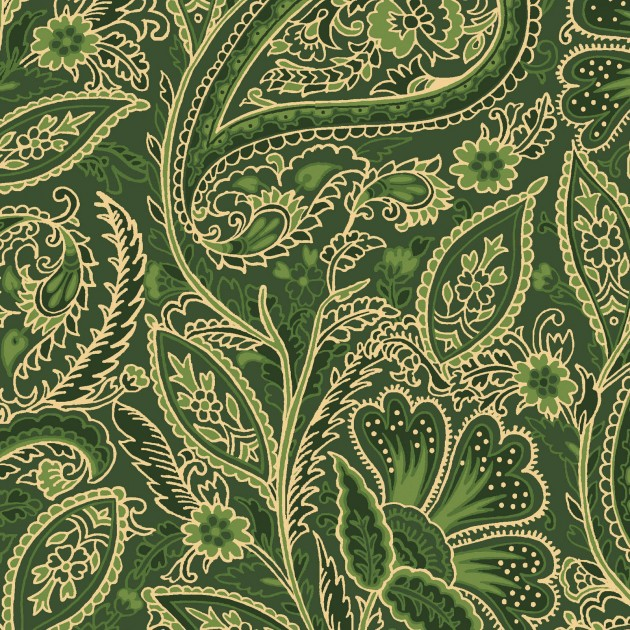 Glad Tidings Metallic Elegant  Paisley Green