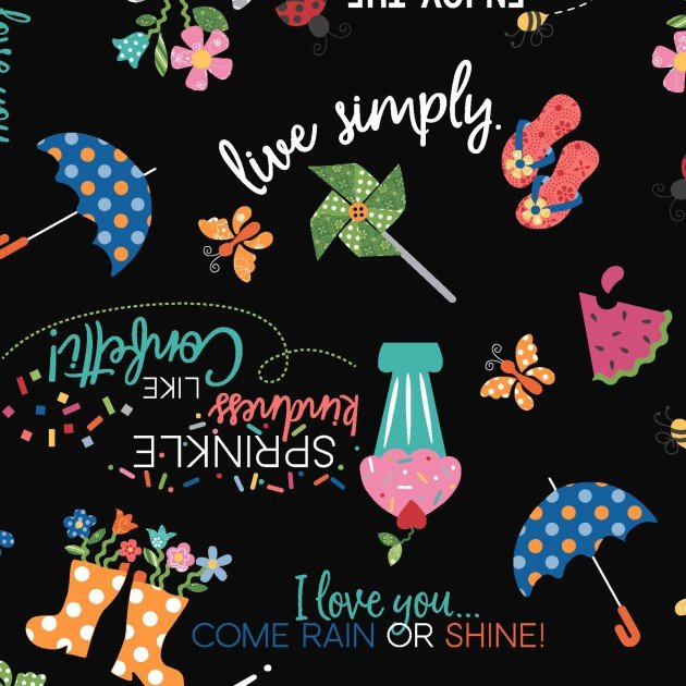 Kimberbell MAS8250-J - Sunshine Sayings BLACK
