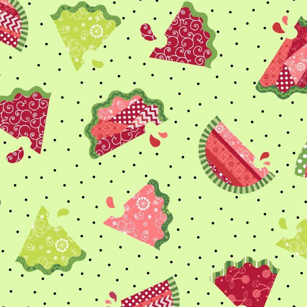 Sprinkle Sunshine - Watermelons on green background