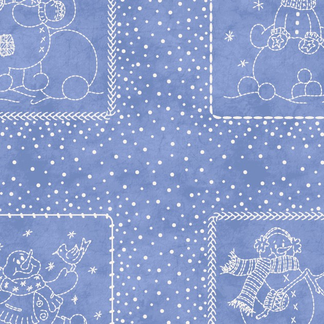 Roly-Poly Snowmen Patches - Light Blue