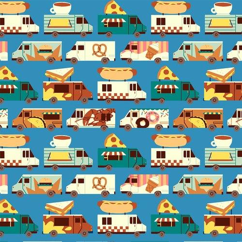Food Truck Trucks on Blue