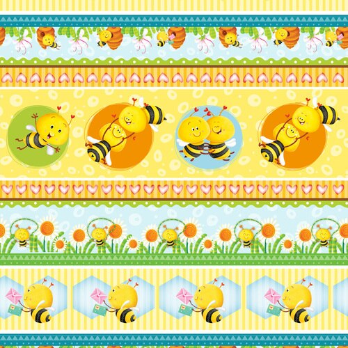 Busy Bees Yellow Novelty Bee Stripe