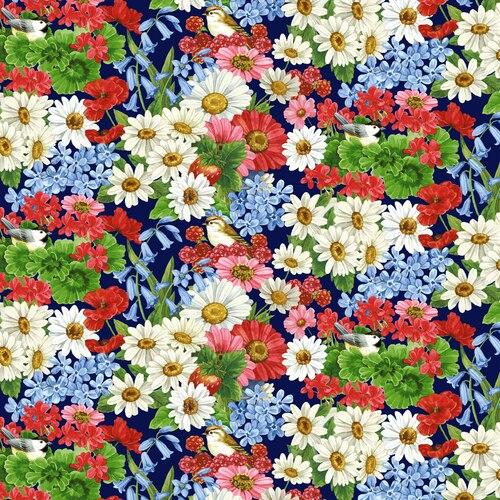 America The Beautiful Birds & Flowers Blue/Multi