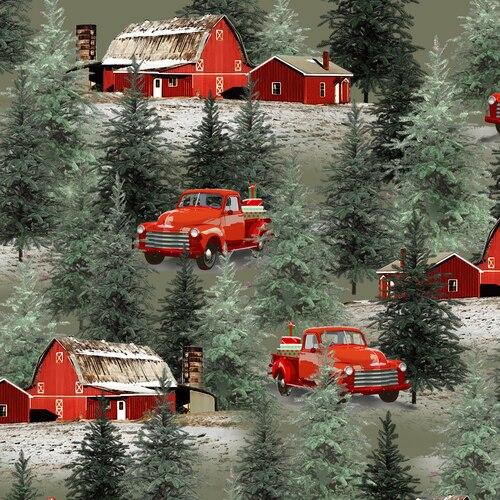 Holiday Homestead Trucks & Barn Scene - Green