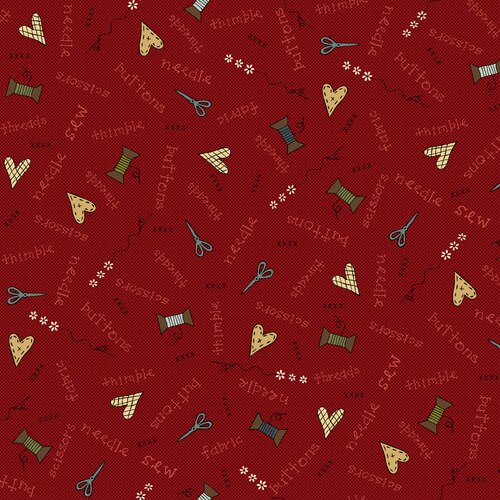 Home Sewn Novelty Scatter Red by Gail Pan for Henry Glass & Co