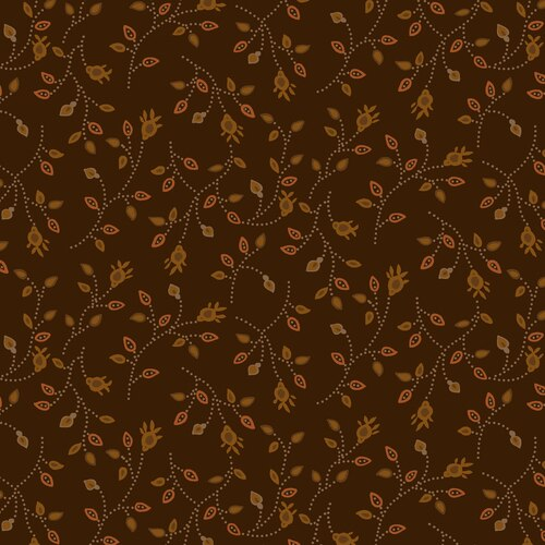BUTTERMILK AUTUMN BROWN W/ GOLD & RUST PRINT 2278-38