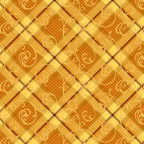 Henry Glass Autumn Time Plaid Scroll Orange and Gold