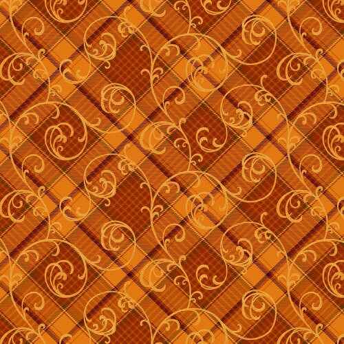 Henry Glass Autumn Time Plaid Scroll Orange