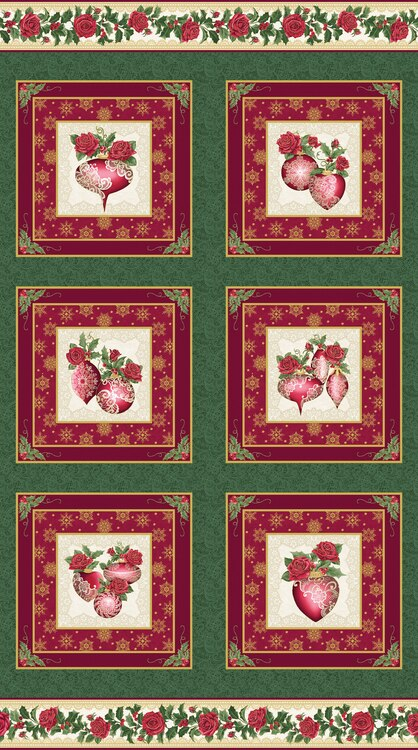 Benartex/Kanvas A Festive Season 3 24 Ornament Panel
